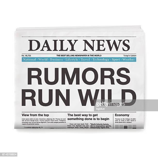 RUMORS RUN WILD Headline. Newspaper isolated on White Background