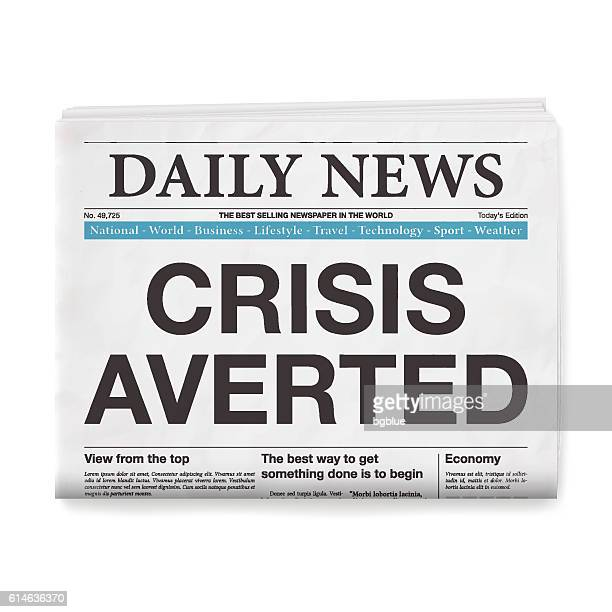 CRISIS AVERTED Headline. Newspaper isolated on White Background