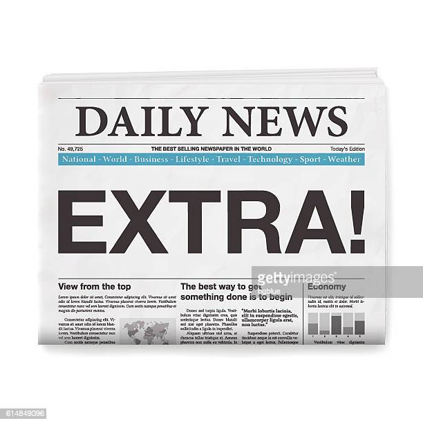 extra! headline. newspaper isolated on white background - incentive stock illustrations, clip art, cartoons, & icons