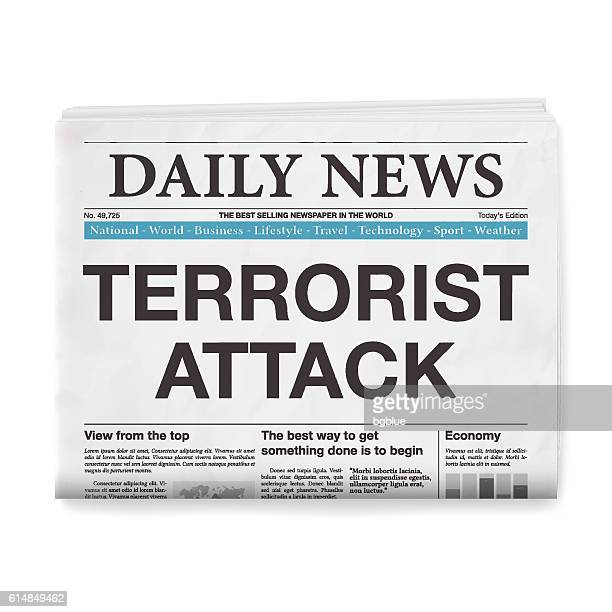 TERRORIST ATTACK Headline. Newspaper isolated on White Background