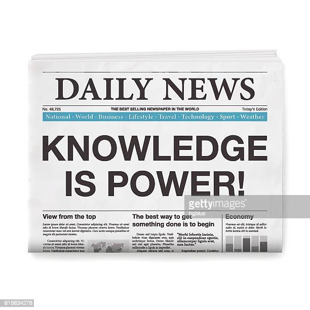 KNOWLEDGE IS POWER! Headline. Newspaper isolated on White Background
