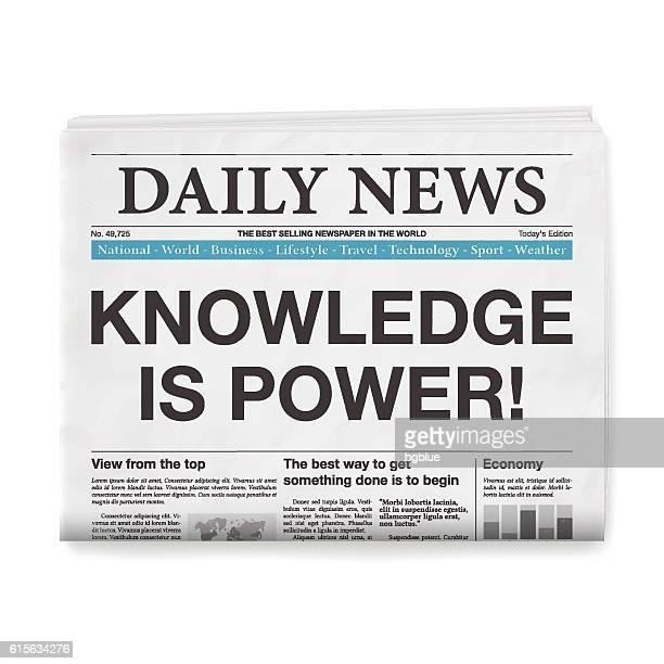 ilustrações, clipart, desenhos animados e ícones de knowledge is power! headline. newspaper isolated on white background - jornal