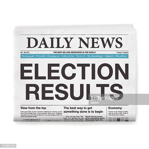 election results headline. newspaper isolated on white background - front page stock illustrations