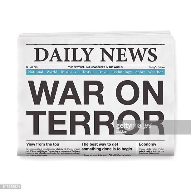 WAR ON TERROR Headline. Newspaper isolated on White Background
