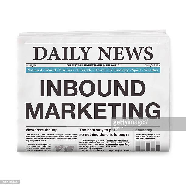 inbound marketing headline. newspaper isolated on white background - front page stock illustrations