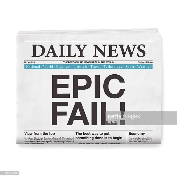 EPIC FAIL! Headline. Newspaper isolated on White Background