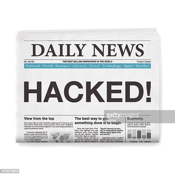 HACKED! Headline. Newspaper isolated on White Background