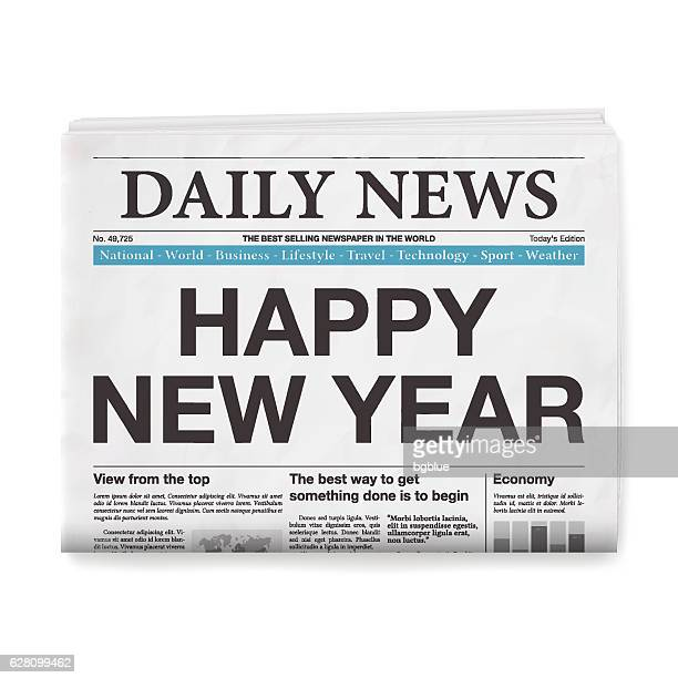 happy new year headline. newspaper isolated on white background - front page stock illustrations
