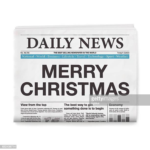 MERRY CHRISTMAS Headline. Newspaper isolated on White Background