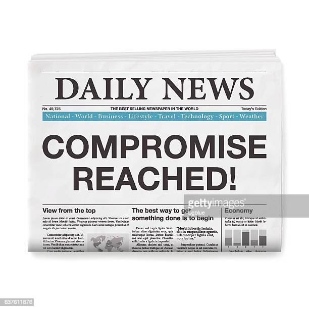 COMPROMISE REACHED! Headline. Newspaper isolated on White Background