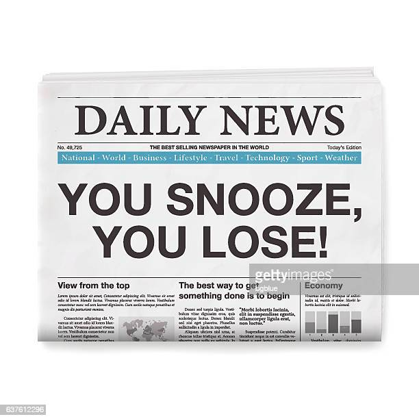 you snooze you lose! headline. newspaper isolated on white background - front page stock illustrations