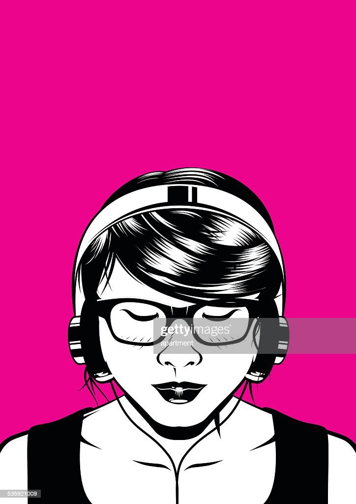 Headphone Girl : Vector Art