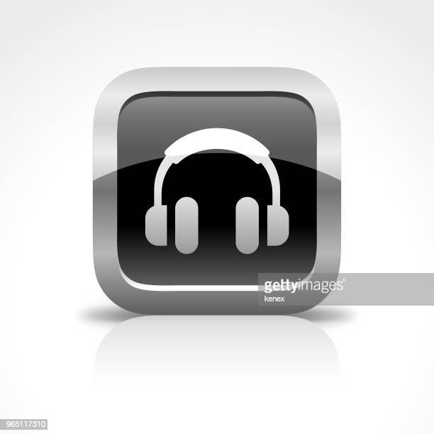 Headphone Glossy Button Icon