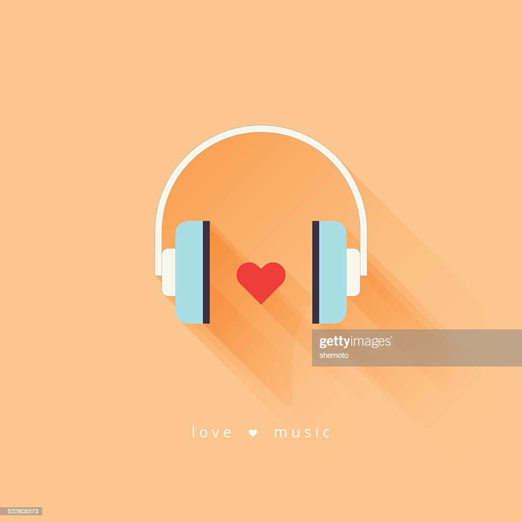 Headphone with heart. Flat design vector.