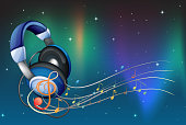 headphone with musical notes
