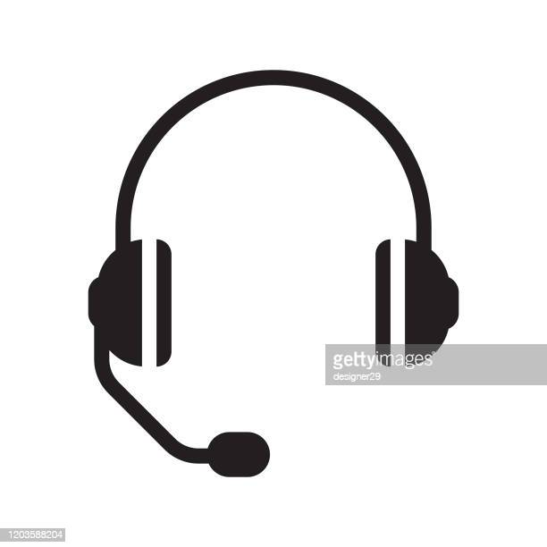 headphones and headset with a microphone icon design. - headset stock illustrations