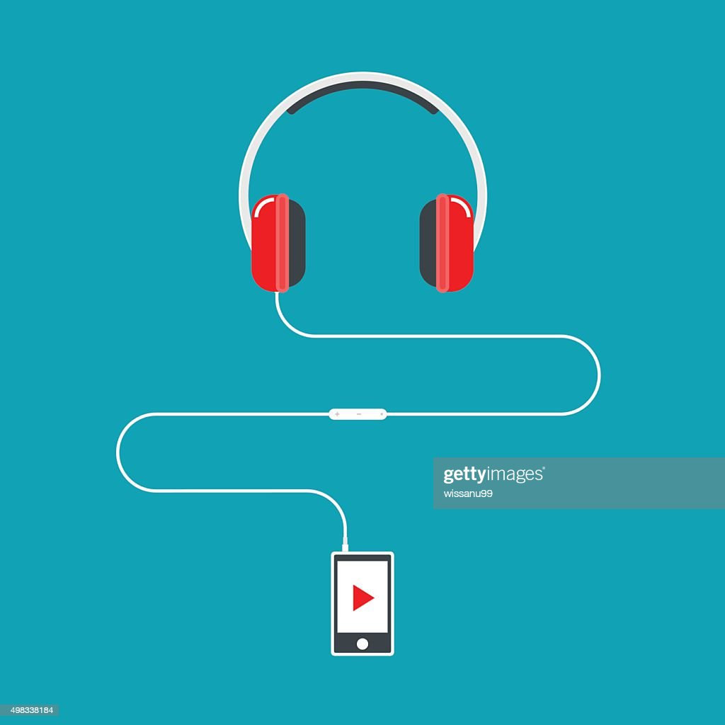 Headphones connected to music player.