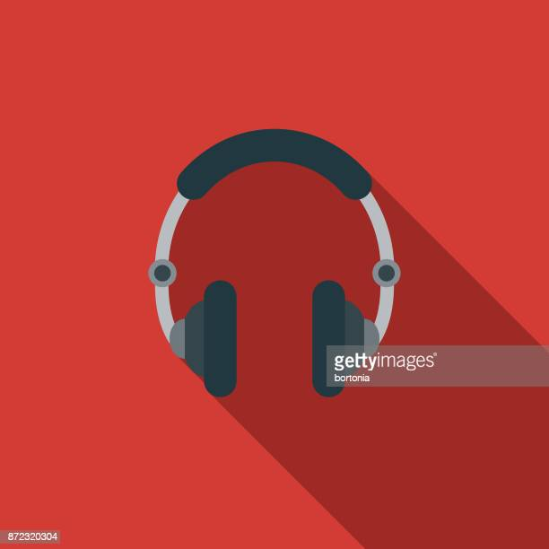 Headphones Flat Design Party Icon with Side Shadow