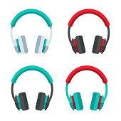Headphones Flat Design Set