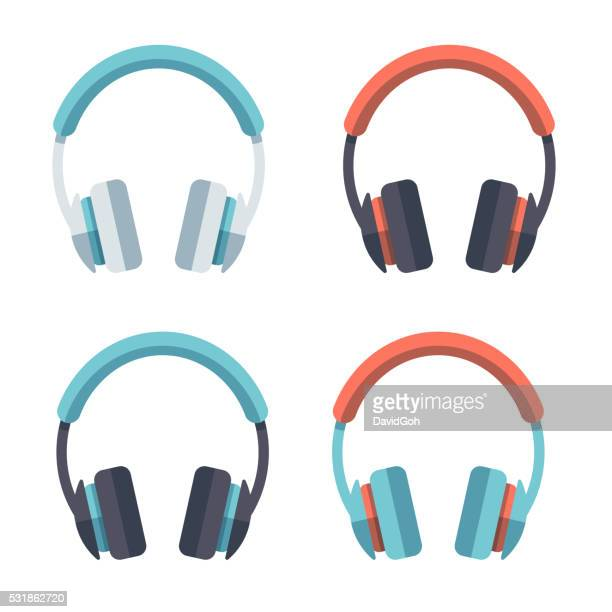 Headphones Flat Design Set