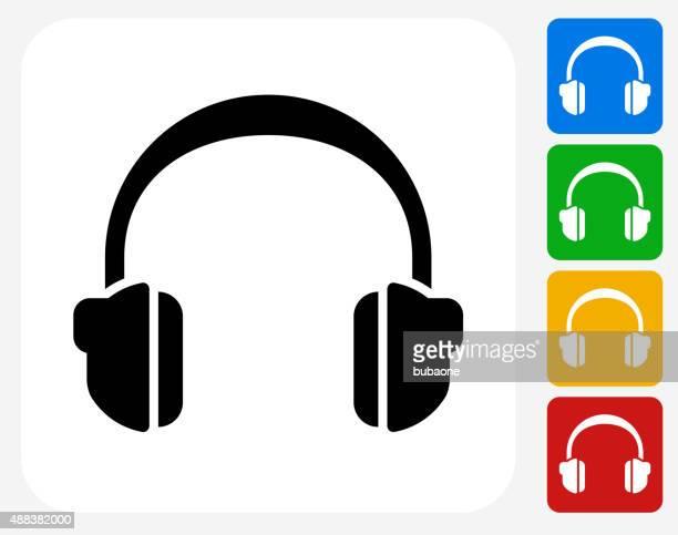 Headphones Icon Flat Graphic Design