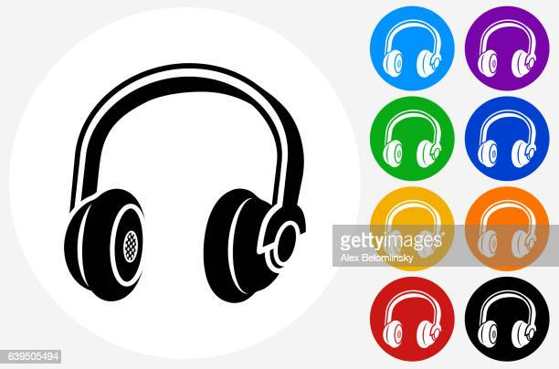 Headphones Icon on Flat Color Circle Buttons