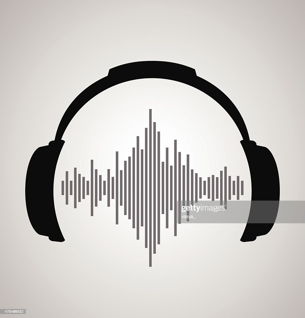 headphones icon with sound wave beats. Vector flat illustration