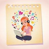 Headphones laptop redhead girl note paper cartoon illustration