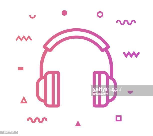 headphones line style icon design - headphones stock illustrations
