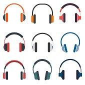 Headphones set of icon vector illustration