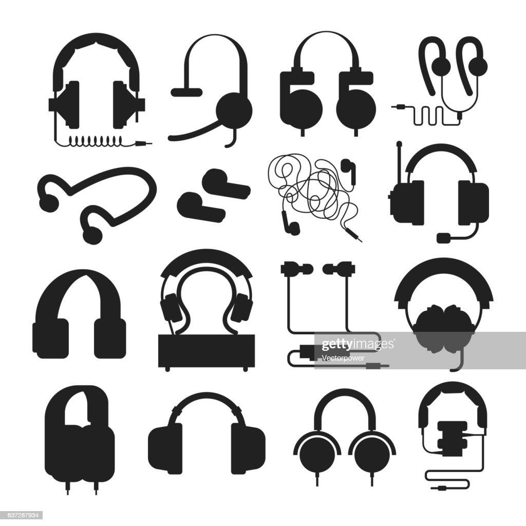 Headphones silhouette vector set.