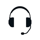Headphones with microphone silhouette