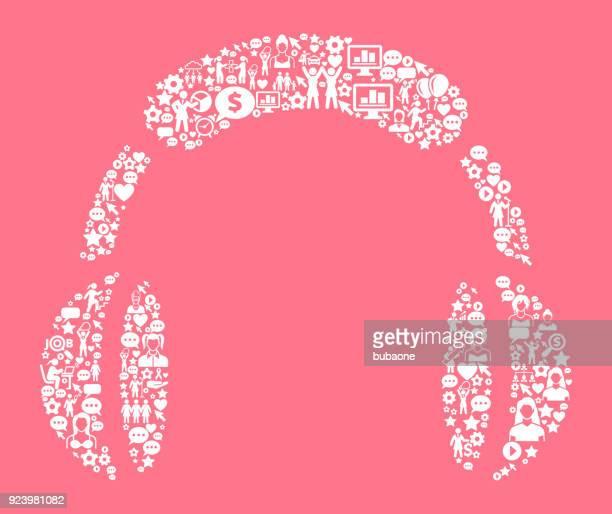 ilustraciones, imágenes clip art, dibujos animados e iconos de stock de auriculares derechos de la mujer y la niña poder icono patrón - mujer escuchando musica