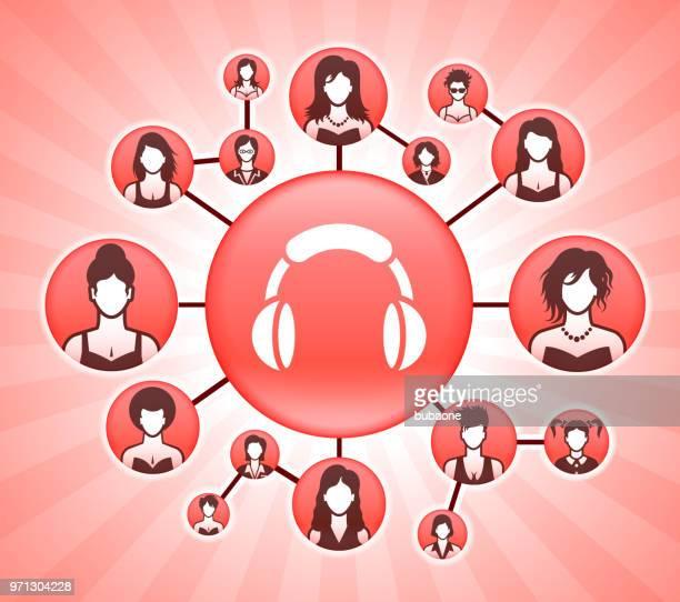 ilustraciones, imágenes clip art, dibujos animados e iconos de stock de derechos de la mujer auriculares rosa fondo vector - social grace