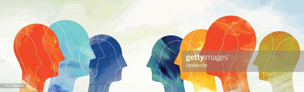 Heads Concept Light Background Horizontal : stock illustration