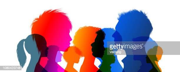 ilustraciones, imágenes clip art, dibujos animados e iconos de stock de cabezas de - adolescente