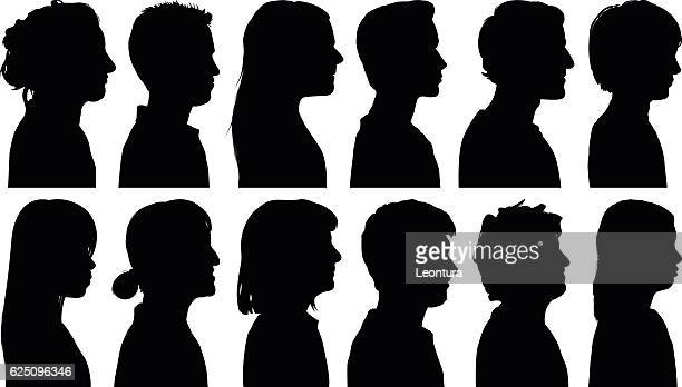 heads - side view stock illustrations