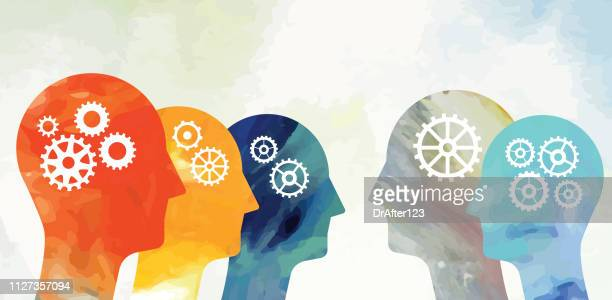 heads with gears - brain stock illustrations
