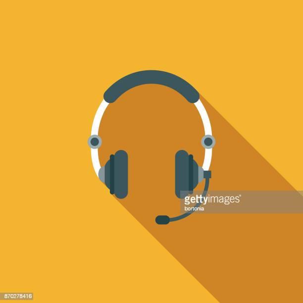 ilustrações, clipart, desenhos animados e ícones de ícone de comunicações de design plano de headset com sombra do lado - escutando