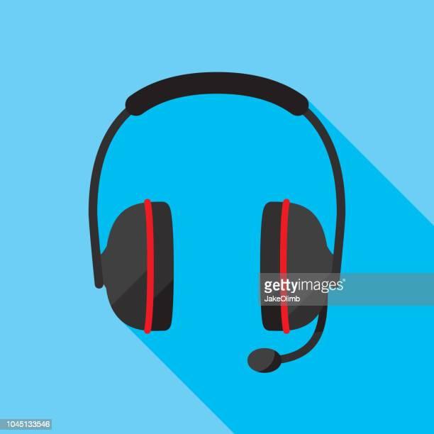 headset icon flat - headphones stock illustrations
