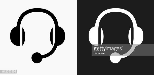 Headset Icon on Black and White Vector Backgrounds