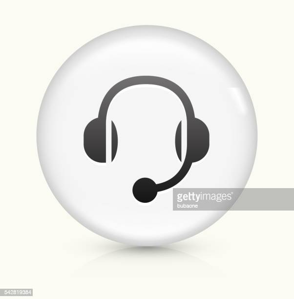 Headset icon on white round vector button