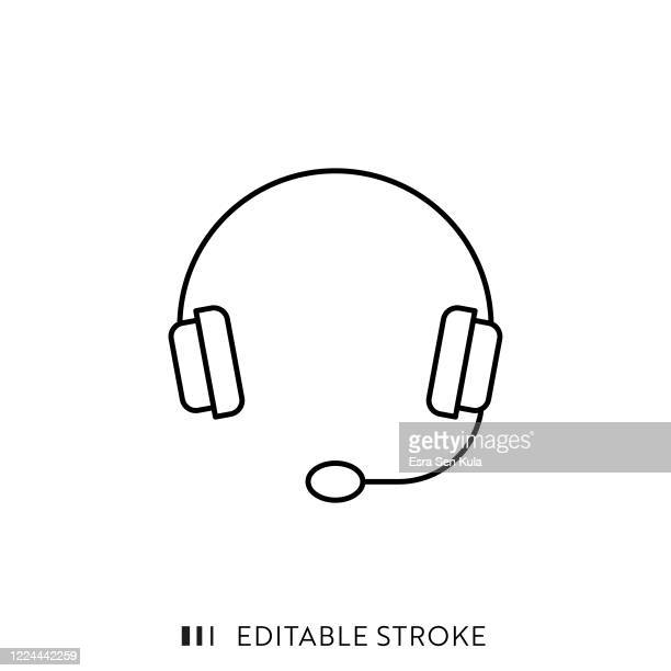 headset line icon with editable stroke and pixel perfect. - thin stock illustrations