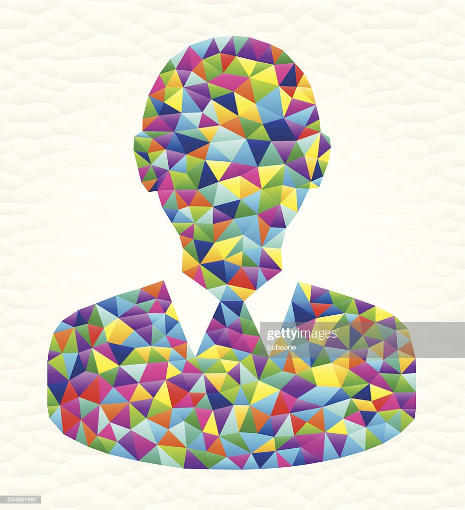 Headshot on triangular pattern mosaic royalty free vector art : stock illustration