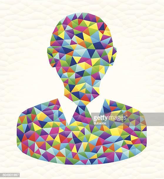 headshot on triangular pattern mosaic royalty free vector art - free mosaic patterns stock illustrations