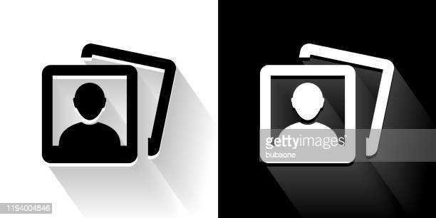 headshot pictures black and white icon with long shadow - headshot stock illustrations