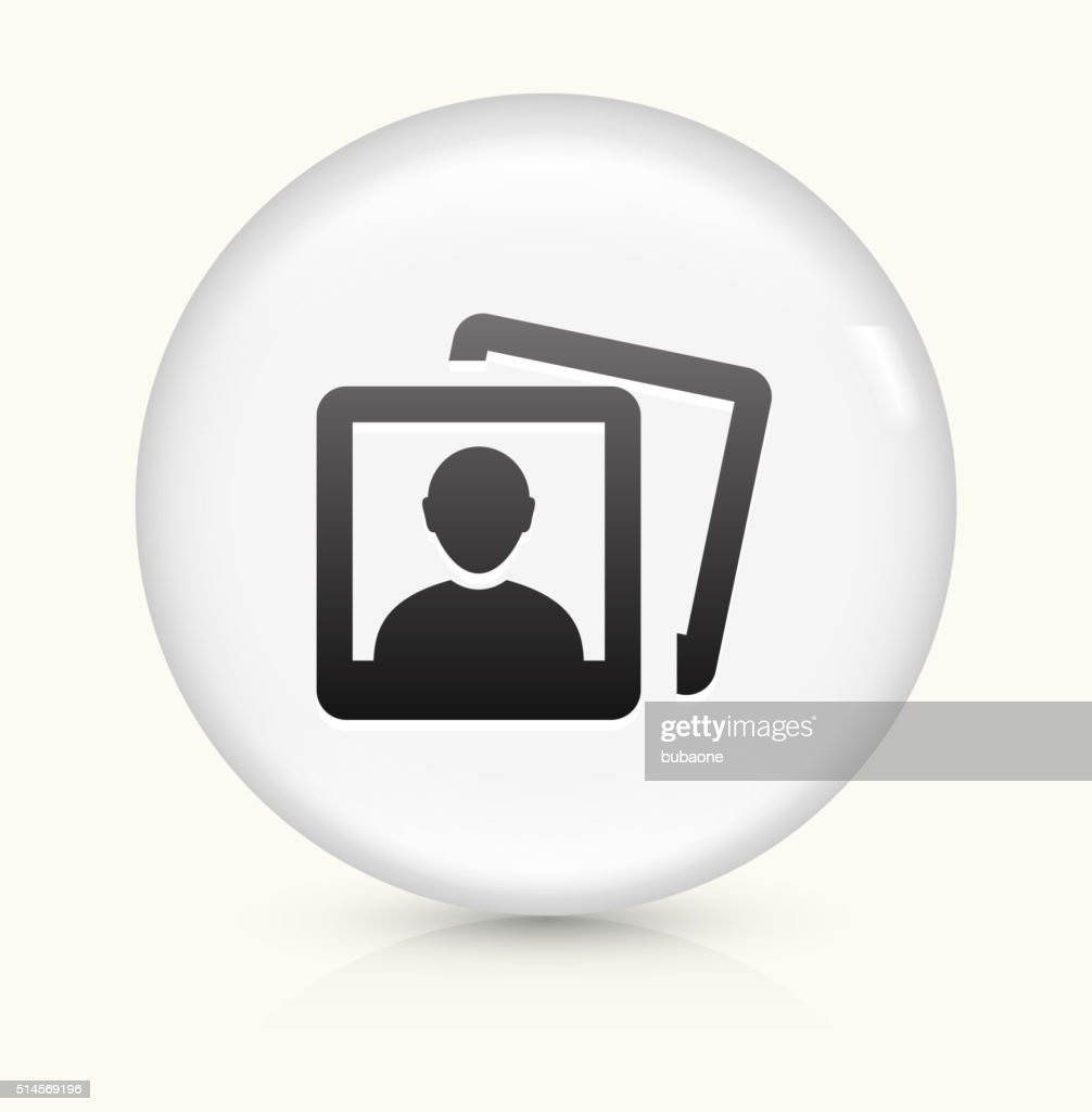 Headshot Pictures icon on white round vector button