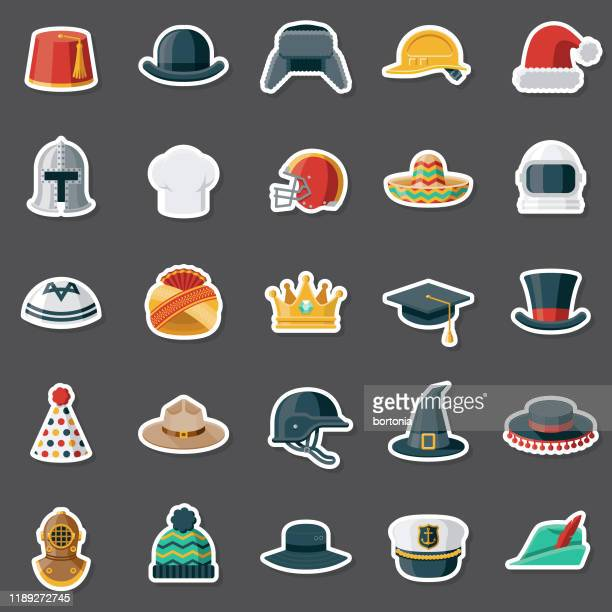 headwear sticker set - sombrero stock illustrations