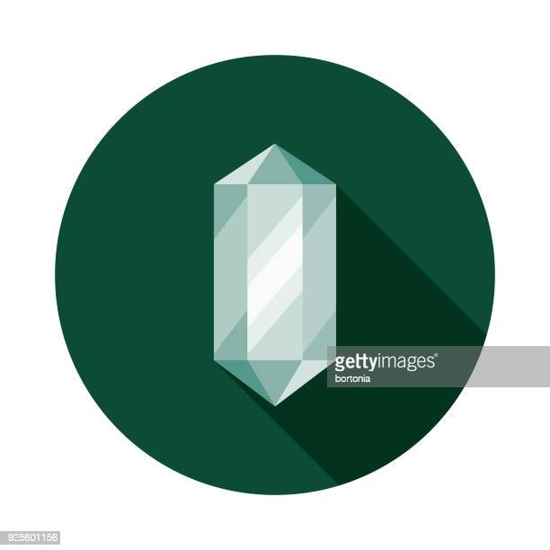 Healing Crystal Flat Design Naturopathy Icon with Side Shadow