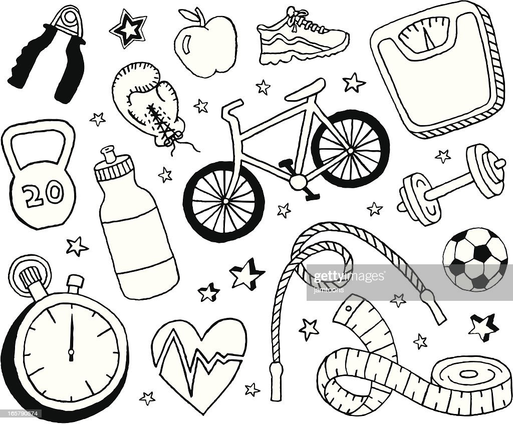 Health and Fitness Doodles : stock illustration